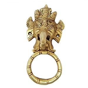 India Home Décor Lord Ganesha Head Design Door Knocker /Handle Golden Engraved Brass Metal Figure from IBA