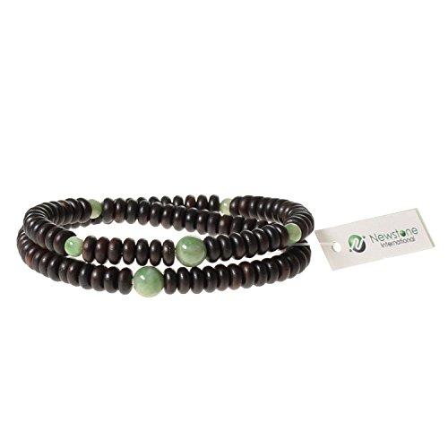 Newstone Nenju Bracelet 108 Beads Striped Ebonywood Jade Tailored Double Wrap Bracelet