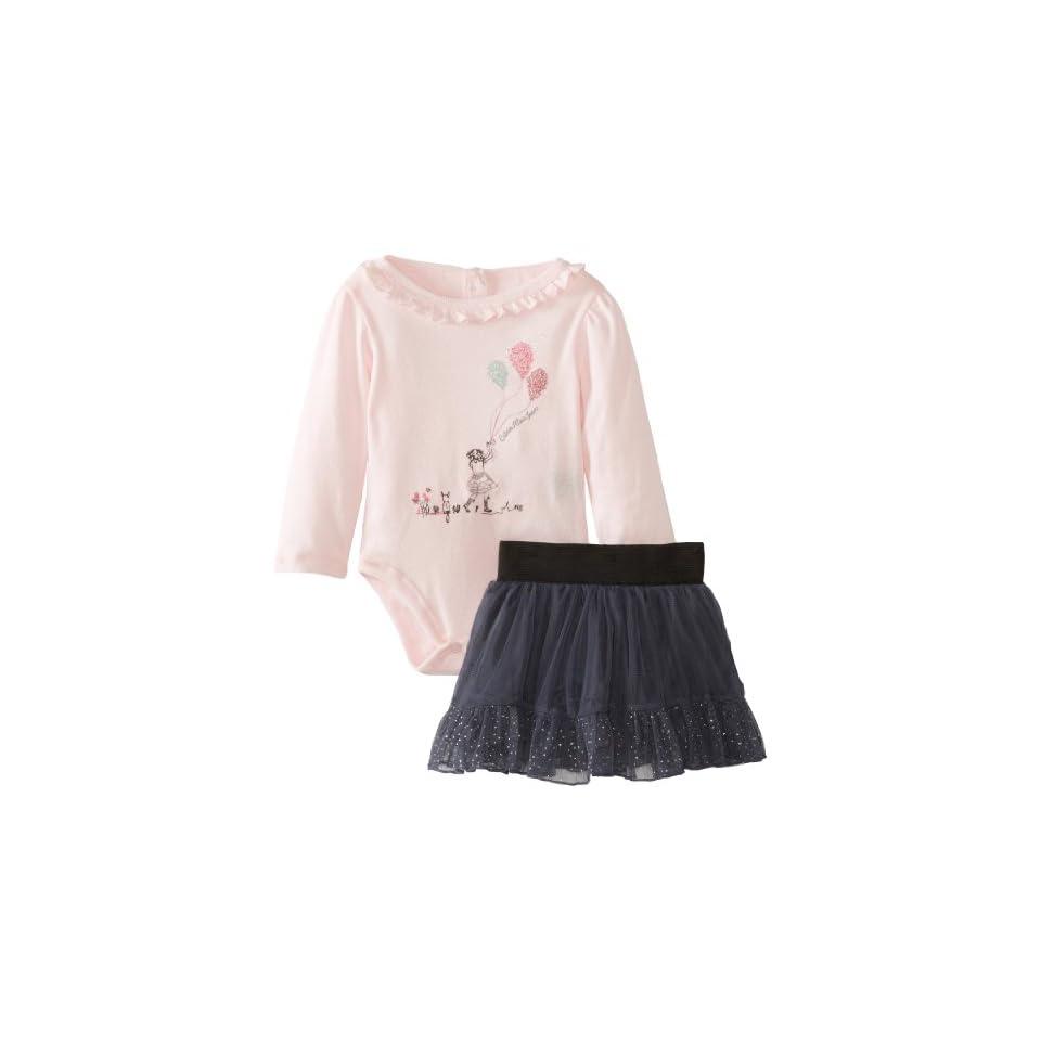 Calvin Klein Baby Girls Bodysuit With Gray Skirt