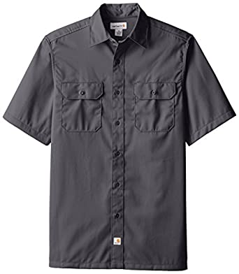 Carhartt Men's  Twill Work Shirt Short Sleeve Button Front,Dark Grey,Small