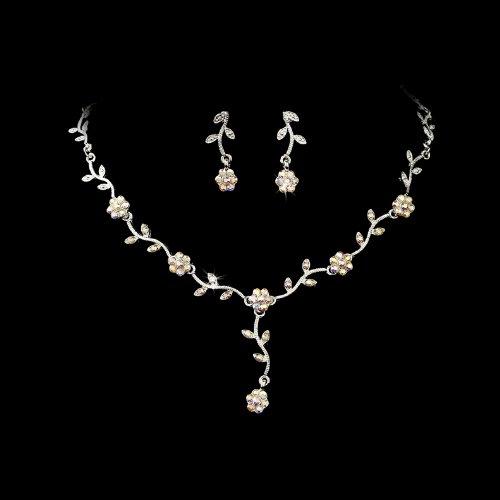 Silver AB Floral Rhinestone Crystal Bridal Wedding Necklace Earring Set