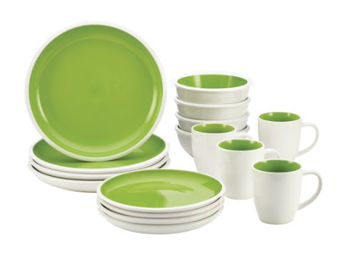 Rachael Ray Dinnerware Rise Collection 16-Piece Set, Green
