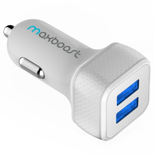 Maxboost 4.4A/22W Dual-Port USB Car Charger-[White/Grey]Portable Rapid External Battery Pack Charger for Samsung Galaxy S5/S5 Prime; The All New HTC One M8/ACE M7 M4,Mini 2;iPhone 5S 5 5C 4S 6,iPad Air 4 3 2,iPad Mini 1 2 Retina,iPod Touch Nano;Samsung Z,Galaxy S4/Active S3, Note 4 3,Tab S 4 3 7.0 8.0 8.4 10.1 10.5;Amazon Fire Phone;LG Optimus G3 G2,G Flex,G Pro 2,G Pad;Google Nexus 5 4 7 8 FHD 2;Motorola;Sony Xperia Z2;Other Android Phone/Tablets(a.k.a Backup Extended Cable Power Case Charger)