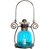 Antique Lantern Glass Light Blue Tea Light Candle Holder