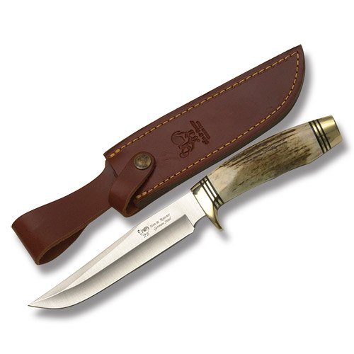 Hen & Rooster Bowie Fixed Blade Knife, 8in, Bowie, Round Design Stag Handle