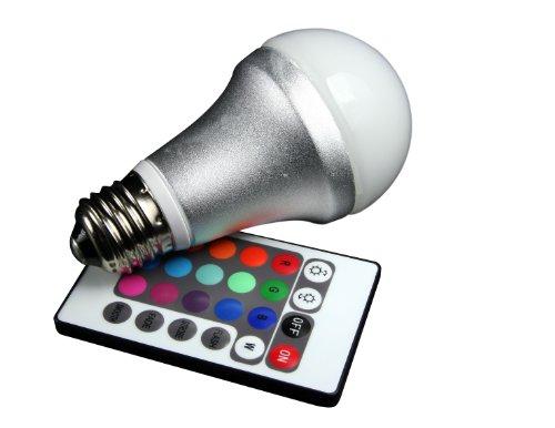 Technaxx RGB LED Lampe E27 4.2 Watt, multicolor (farbwechsel), dimmbar, mit Infrarot-Fernbedienung