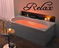 Relax - Vinyl Wall Art -Decal - Wall Sayings - Sticker - Vinyl Letters - Bathroom - Spa - Home Décor - Matte Black from Elyse Shockley