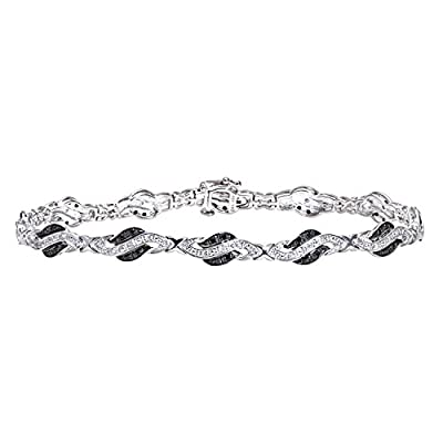 Ariel 9ct White Gold Black Diamond Crossover Link Bracelet