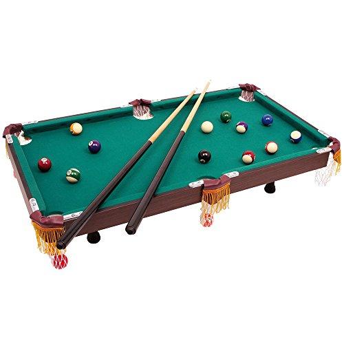 Billardtisch im klassischen Design  mit 2 hölzernen Queues samt passender Keide und Billiardkugeln mit Triangel