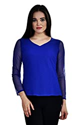 Femninora Blue Color Casual Full Net Top