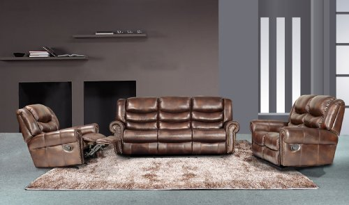 Wilmington 3-pc Bonded Leather Sofa & Loveseat & Chair Set with 5 Recliners
