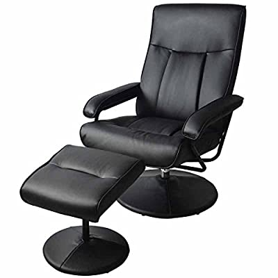 Electric Armchair w/Ottoman Artificial Leather TV Recliner Massage Chair Swivel Seat 6151-7903