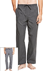 2 Pack Pure Cotton Checked & Striped Pyjama Bottoms