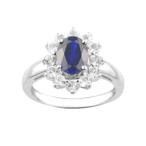Sterling Silver Created Blue Sapphire and Created White Sapphire Ring, Size 6