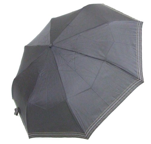 <風に強い 耐風折自動開閉傘> 折畳みJP式 ステッチ入り 黒
