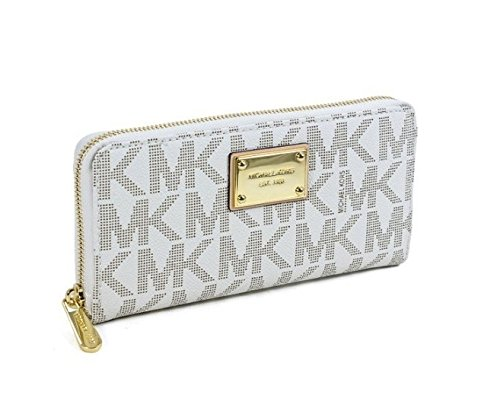 Michael Kors Vanilla Tone Pvc Zip Around Continental Wallet