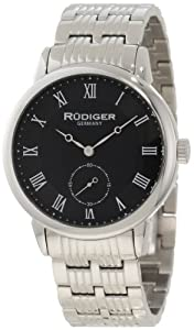 Rudiger Men's R3000-04-007 Leipzig Stainless Steel Black Dial Roman Numeral Watch from Rudiger