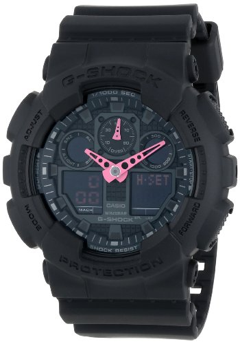 G-Shock GA-100 Neon Highlights Trending Series Men's Luxury Watch - Black/Pink / One Size