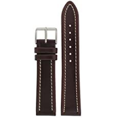 Watch Band Leather Dark Brown White Stitching Buckle Mens 20 millimeter