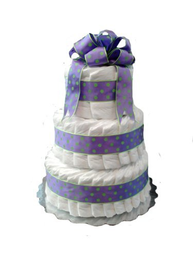 Classic Pastel Baby Shower Diaper Cake (3 Tier, Purple Dots) - 1