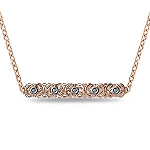14K Rose Gold Plated .02CTW Diamond Byzantine Link Bar Pendant Necklace