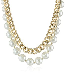 """Anne Klein """"Fair Lady"""" Gold-Tone Chain and Pearl Two Row Collar Necklace, 19"""""""