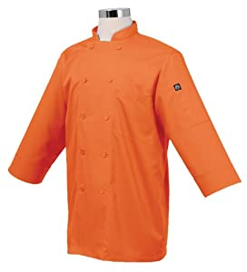 Chef Works JLCL-ORA-2XL Basic 3/4 Sleeve Chef Coat, Orange, 2XL