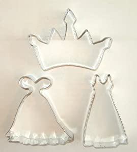 Princess crown and gown cookie cutter for Wedding dress cookie cutters