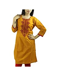 Fashion Freaks Orange Cotton Embroidered Round Neck Kurti