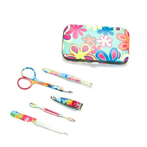 Blue Floral Manicure Set Tools and Case