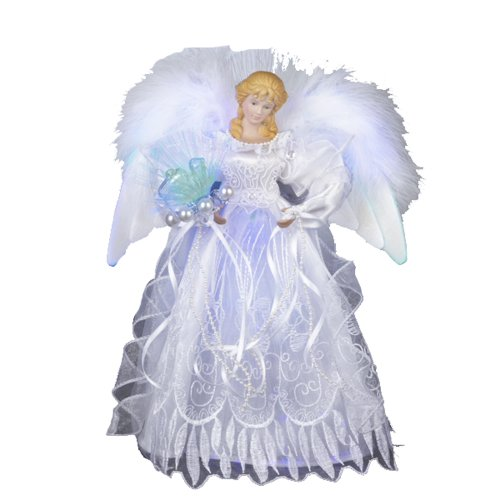 41VMfGHLIGL Kurt Adler 12 Inch White and Silver Fiber Optic LED Angel Treetop