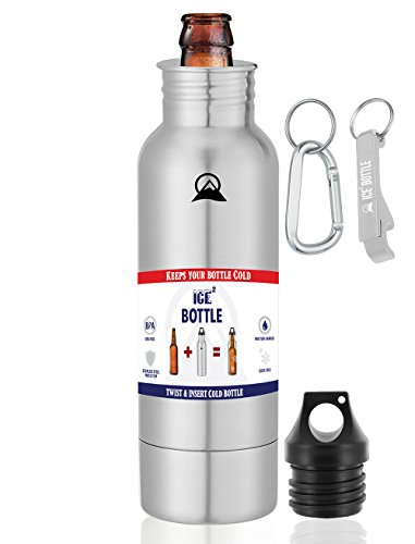 The Original Beer Cooler ● Ice2Bottle ● Cold Beer ● Beer Chiller ● Stainless Steel Bottle Insulator ● Beer Holder ● Fits 12oz Bottles ● Includes Bottle Opener & Keychain Carabiner (Stainless Steel) (Bottle Opener Keychain Bear compare prices)