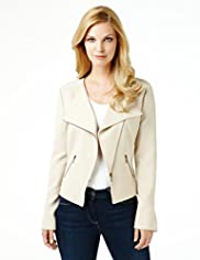 Off Centre Zip Soft Biker Jacket