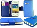 NEW STYLISH BLUE PU LEATHER FLIP WALLET CASE COVER FOR SAMSUNG GALAXY Y S5360 WITH BULIT IN CARD HOLDER AND NOTE