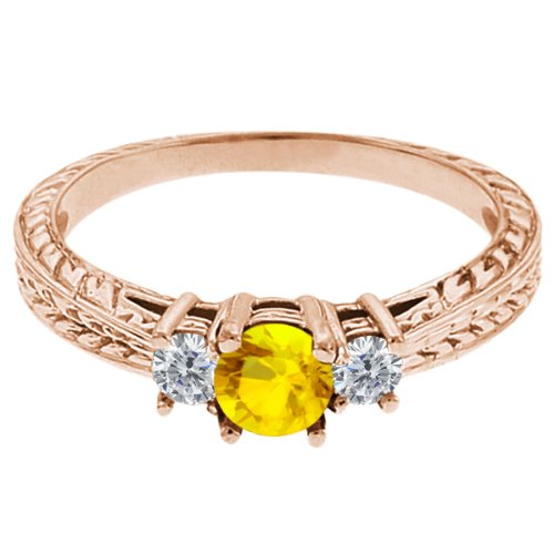 0.60 Ct Round Yellow Sapphire G/H Diamond 14K Rose Gold 3-Stone Ring