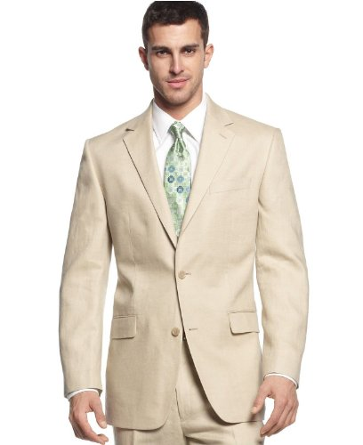 MICHAEL Michael Kors Michael Kors Men`s 100% Linen Two Button Suit (44 Long x 37W)