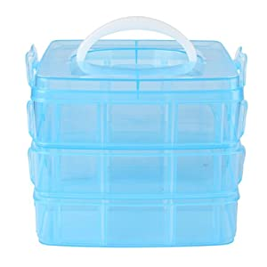 6 Cells/3 Layer Nail Art Makeup Cosmetics Container Storage Box Case Blue Multi-purpose