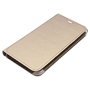 M.G.R Premium Leather Flip Cover Case (Gold) for Lyf Flame 3