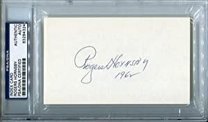 ROGERS HORNSBY SIGNED AUTOGRAPHED 3x5 INDEX CARD SLABBED - PSA/DNA Certified - MLB Cut Signatures