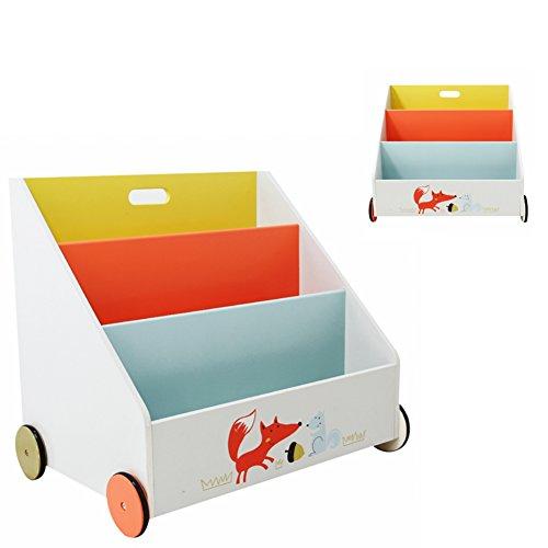 Labebe-Kinder-Holz-Bcherregal-Spielzeugregale-mit-Rollen-3-Fcher-600x430x550-mm-wei-Fuchs