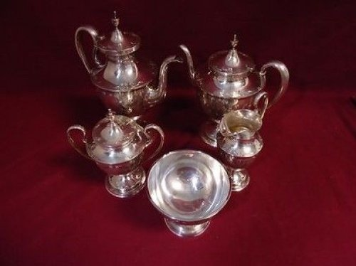 Old Maryland Engraved By Kirk Sterling Silver Tea Set 5Pc Coffee Creamer Sugar