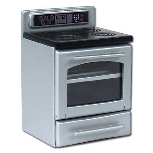Dollhouse Miniature Free Standing Modern Stainless Steel Range back-31387