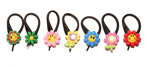 7 pcs Small Flowers # 1 Soft Zipper Pull Charms for Backpack Bag Pendant Jacket
