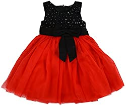 Titli Girls Net Dress (tinigirlm667 _ 8-9 years, Red)