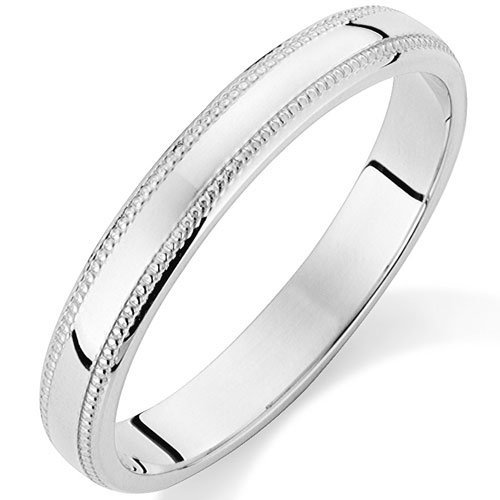 Millgrain Edged 9Ct White Gold Wedding Ring in a 3mm D-Shaped Profile - Size P