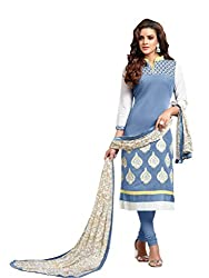 Style Amaze Chanderi Sky Blue Dress Material