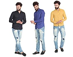 Pelican's Pack Of 3 Black, Blue & Yellow Slim Fit Casual 100% Cotton Shirt