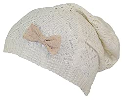 D&Y Women's Loose Lightweight Diamond Knit Skull Cap W/Sheer Bow (One Size) - Off White