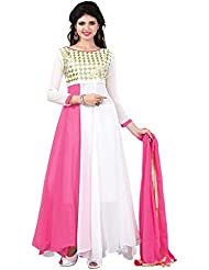 Alethia Enterprise Pink & White Color Party Wear Embroidered Georgette Semi-Stitched Anarkali Suit-ALH999DL305
