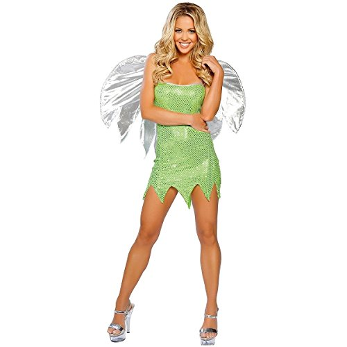 [GSG Green Sprite Costume Adult Tinkerbell Pixie Fairy Halloween Fancy Dress] (Tinkerbell Costumes Plus Size)